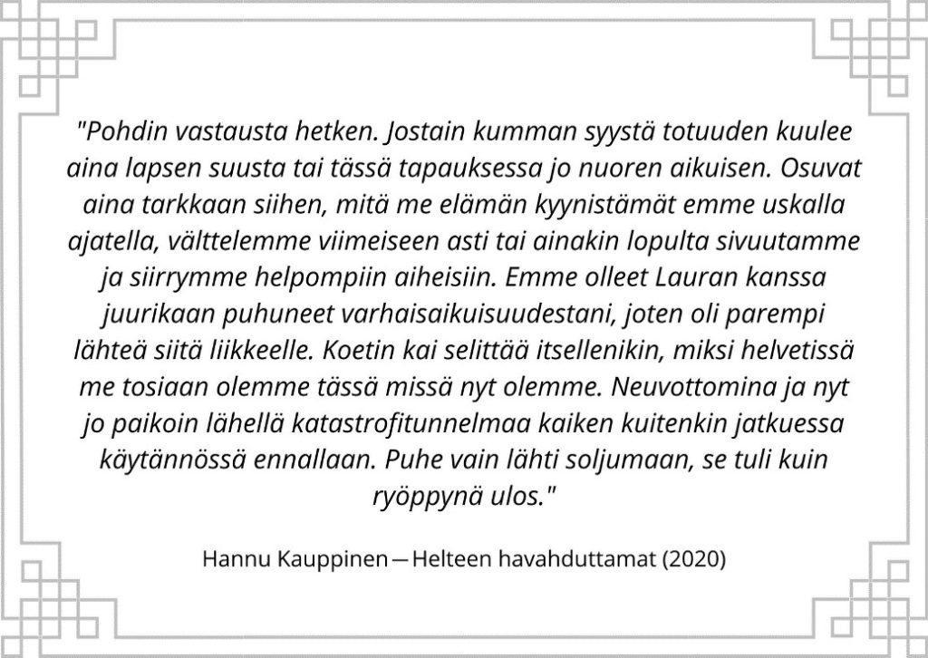 Katkelma Hannu Kauppisen romaanista