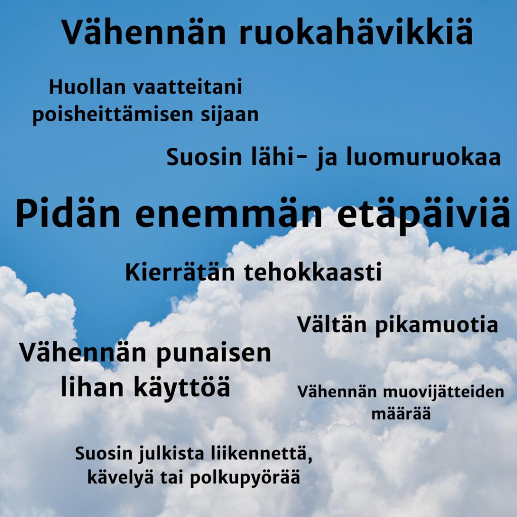 Kuvassa ilmastolupauksen listattuna, taustalla kuva pilvistä