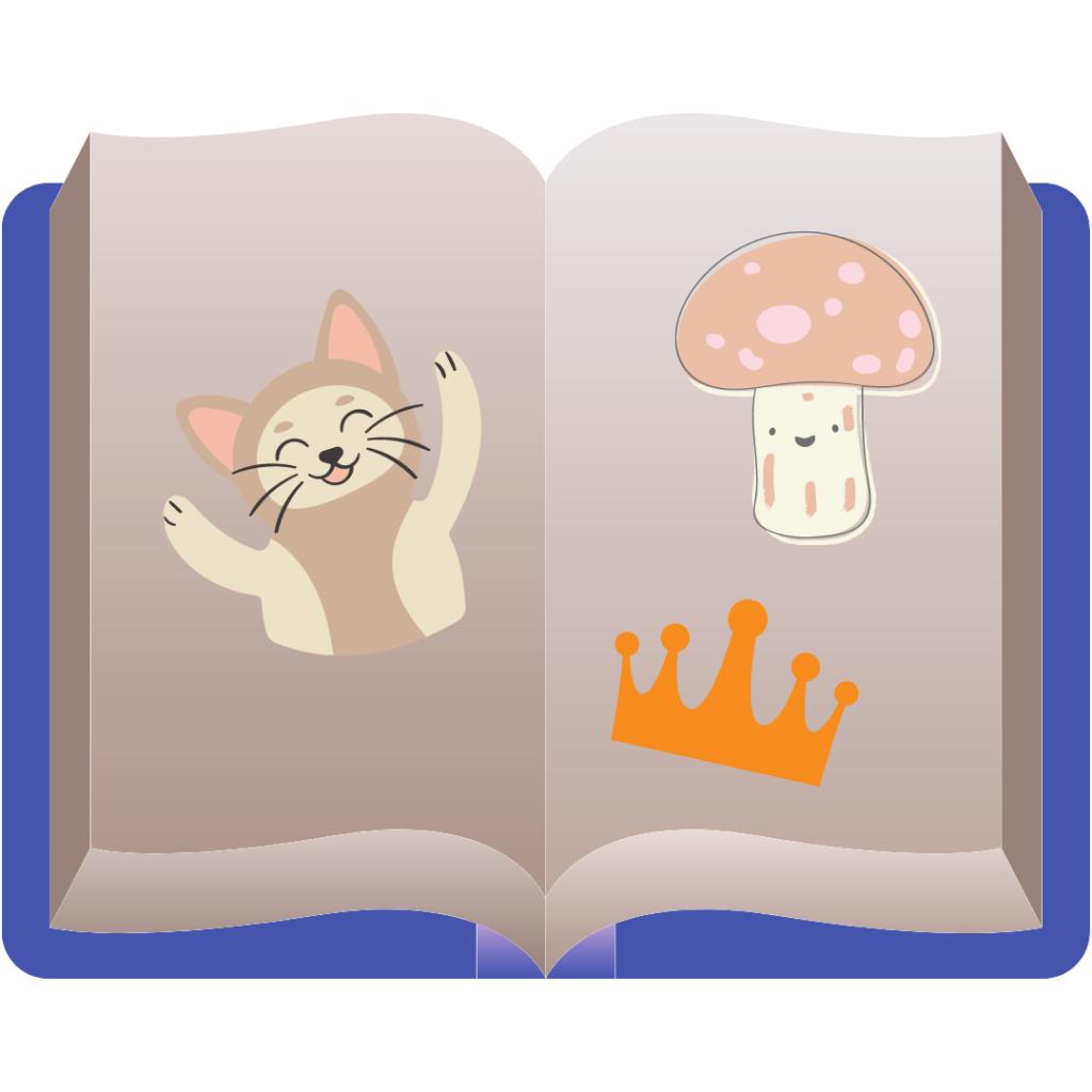 Kuva lastenkirjasta, jossa on kissa, sieni ja kruunu