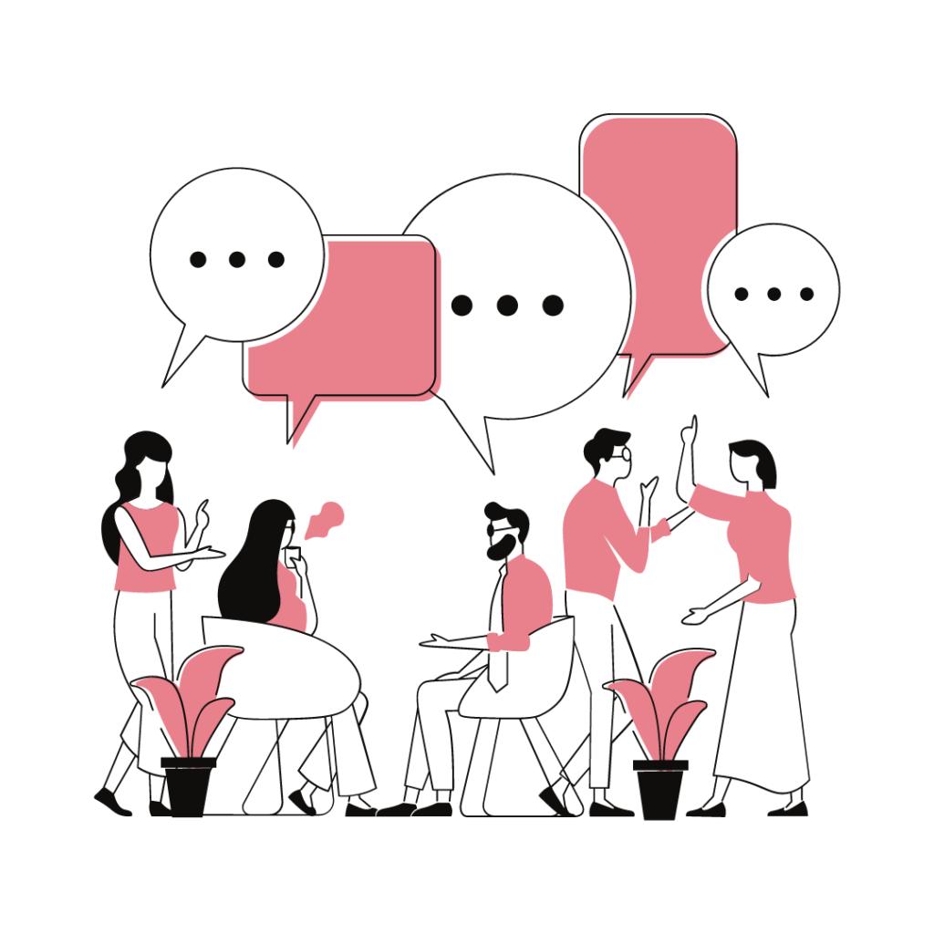 Viisi ihmistä keskustelee keskenään